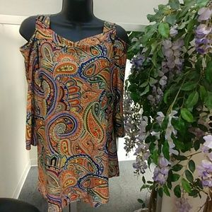 Meaneor Cold Shoulder Paisley Tunic